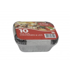 E-lite Style No. 2 Aluminium Foil Container with Lids (10 Pack)-Catering Disposables-Oh My Packaging